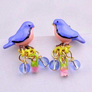 Les Nereides Little Blue Bird Stud Earrings